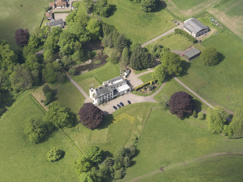 Oblique aerial view of Pitcairlie House, taken from the E.
