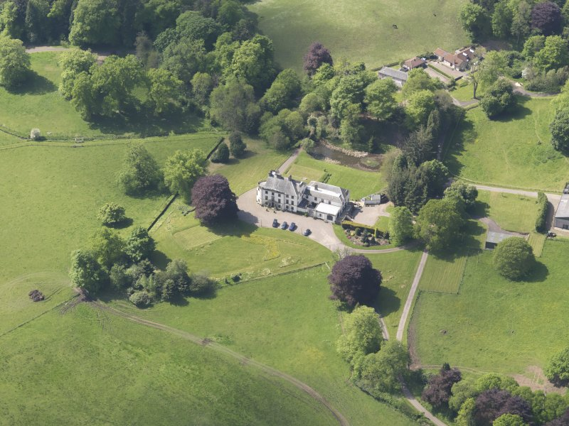 Oblique aerial view of Pitcairlie House, taken from the NE.