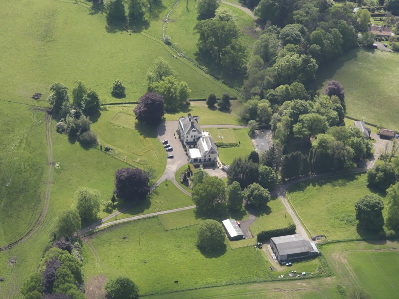 Oblique aerial view of Pitcairlie House, taken from the NNW.