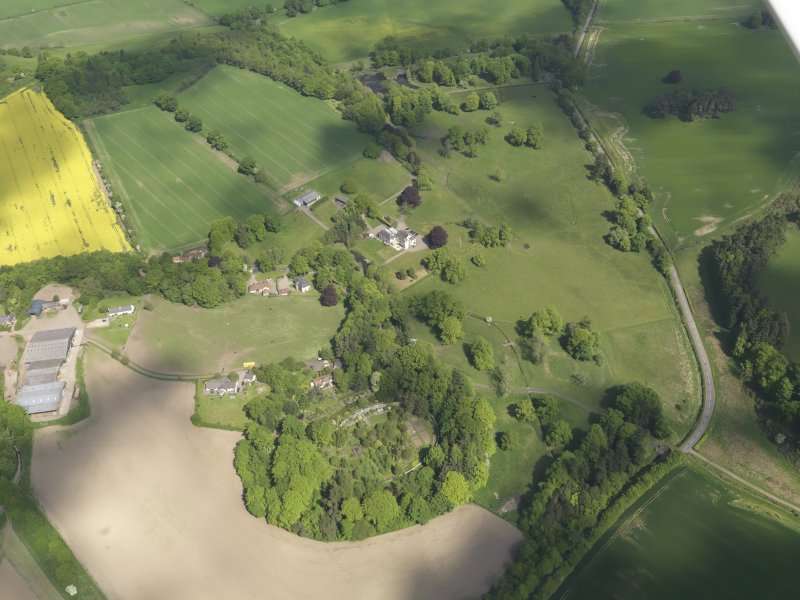 General oblique aerial view of Pitcairlie House policies centred on the House, taken from the S.