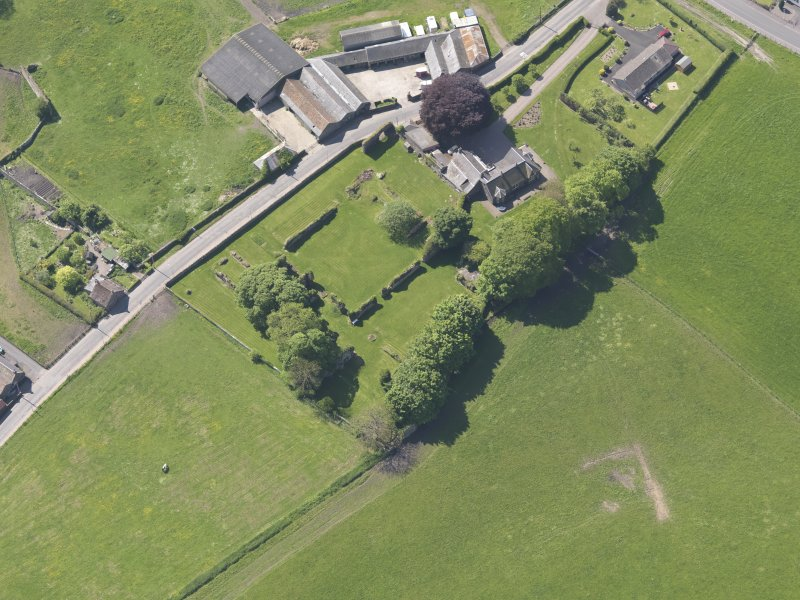 Oblique aerial view of Lindores Abbey, taken from the N.