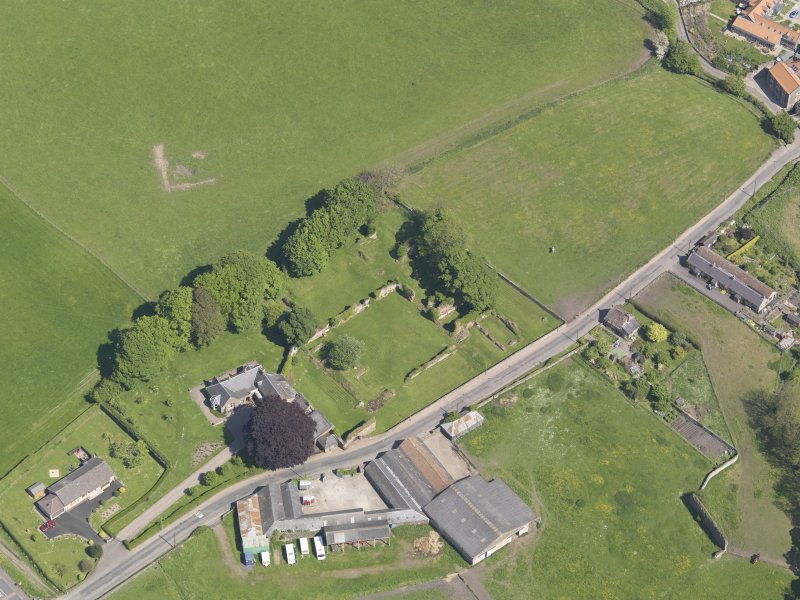 Oblique aerial view of Lindores Abbey, taken from the S.