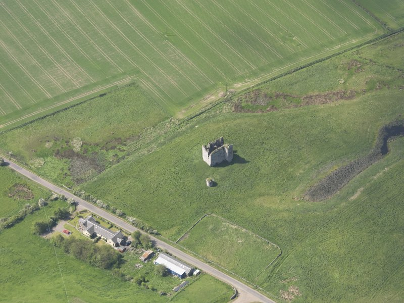 Oblique aerial view of Lordscairnie Castle, taken from the ENE.
