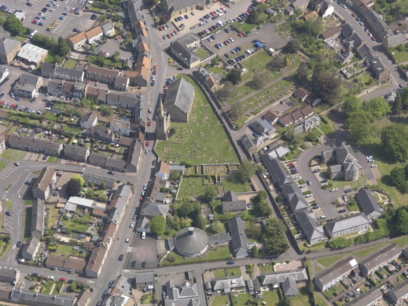 Oblique aerial view of Old and St Michael of Tarvit Parish Church, taken from the SW.