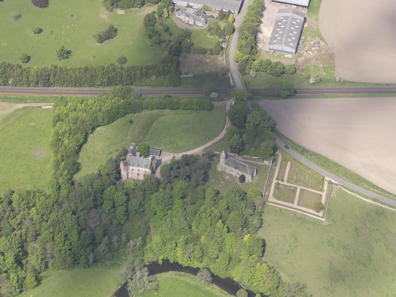 Oblique aerial view of Dairsie Castle, taken from the ESE.