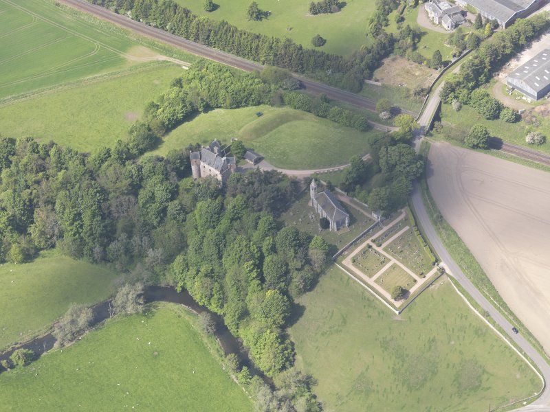 Oblique aerial view of Dairsie Castle, taken from the E.
