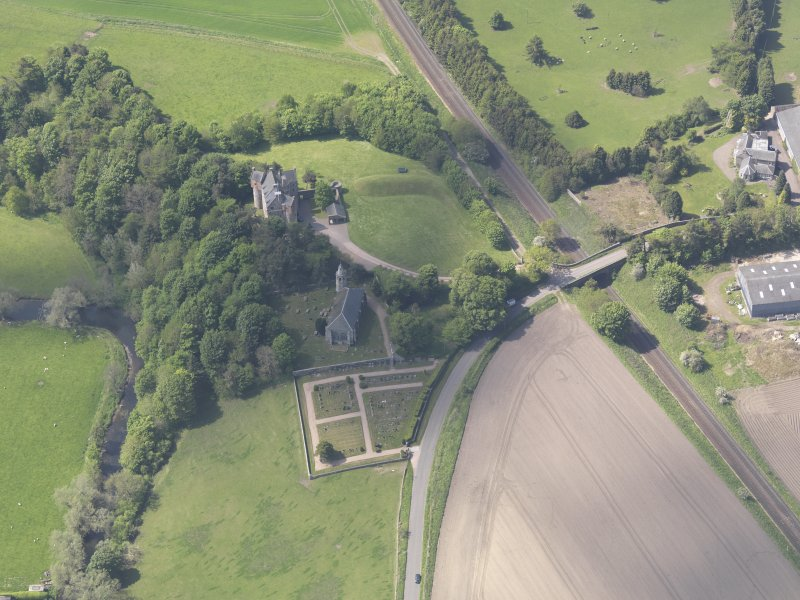 Oblique aerial view of Dairsie Castle, taken from the ENE.