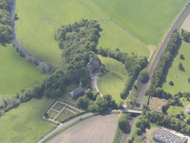 Oblique aerial view of Dairsie Castle, taken from the NNE.