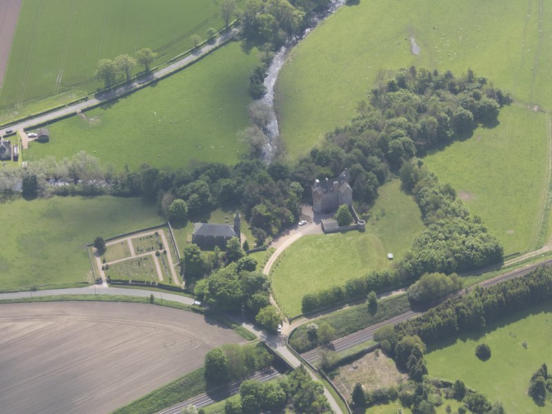 Oblique aerial view of Dairsie Castle, taken from the NW.
