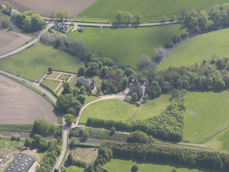 Oblique aerial view of Dairsie Castle, taken from the WNW.