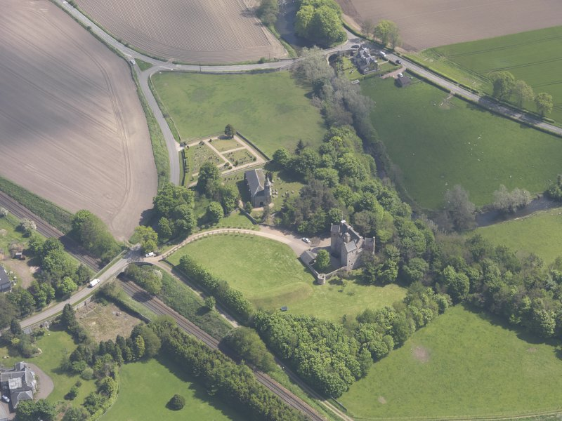 Oblique aerial view of Dairsie Castle, taken from the WSW.