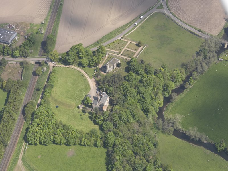 Oblique aerial view of Dairsie Castle, taken from the SSW.
