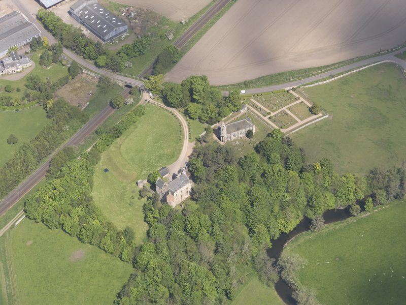 Oblique aerial view of Dairsie Castle, taken from the S.