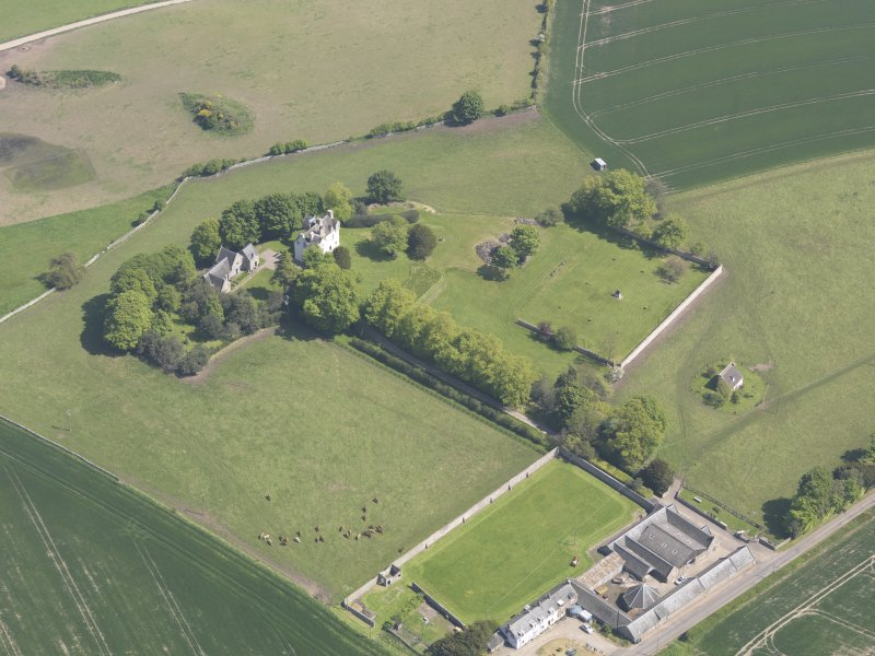 Oblique aerial view of Pitcullo Castle, taken from the SW.