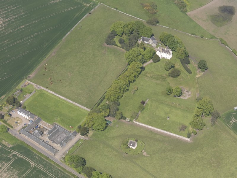 Oblique aerial view of Pitcullo Castle, taken from the SE.