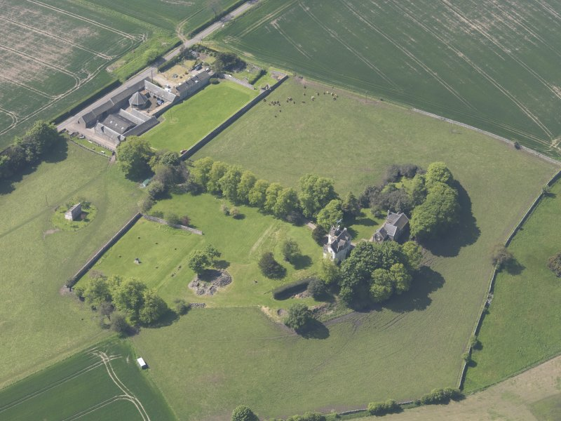 Oblique aerial view of Pitcullo Castle, taken from the NNE.