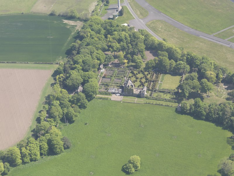 Oblique aerial view of Earlshall, taken from the WSW.