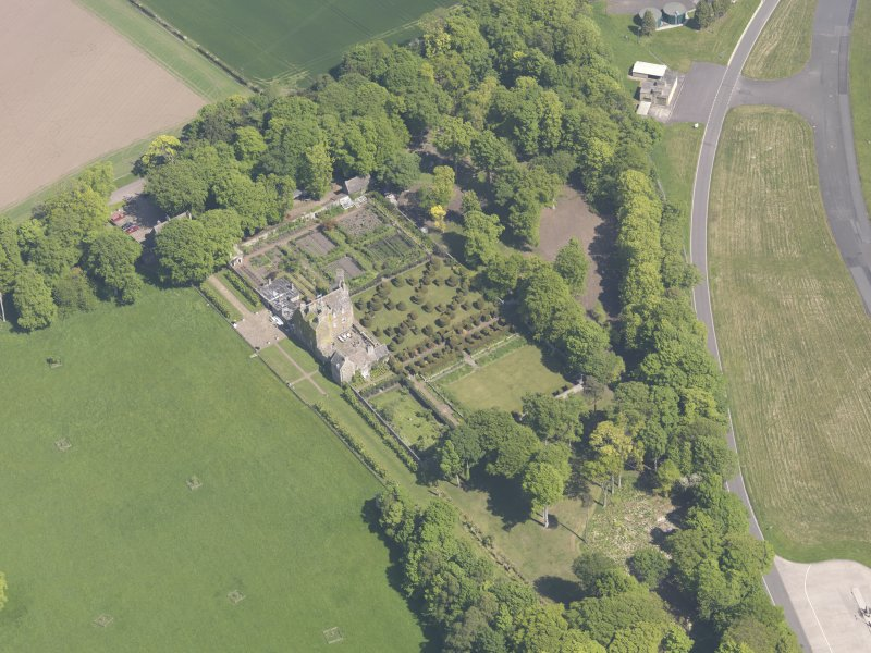 Oblique aerial view of Earlshall, taken from the SSW.