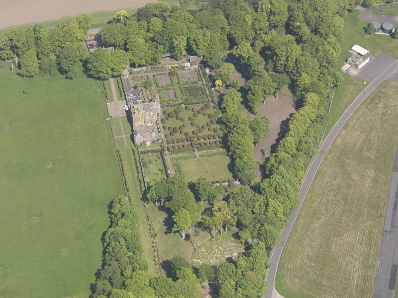 Oblique aerial view of Earlshall, taken from the S.