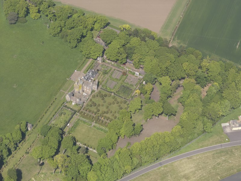Oblique aerial view of Earlshall, taken from the SE.