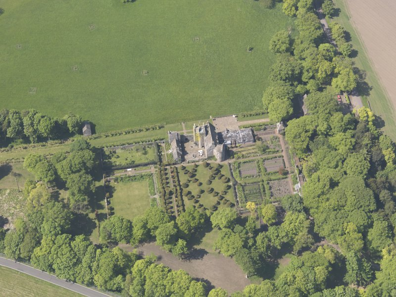 Oblique aerial view of Earlshall, taken from the E.
