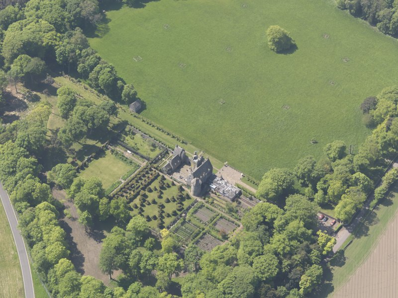 Oblique aerial view of Earlshall, taken from the NE.