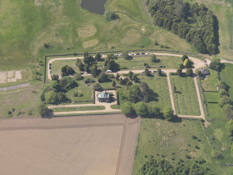 Oblique aerial view of Vicarsford Cemetery, taken from the ENE.