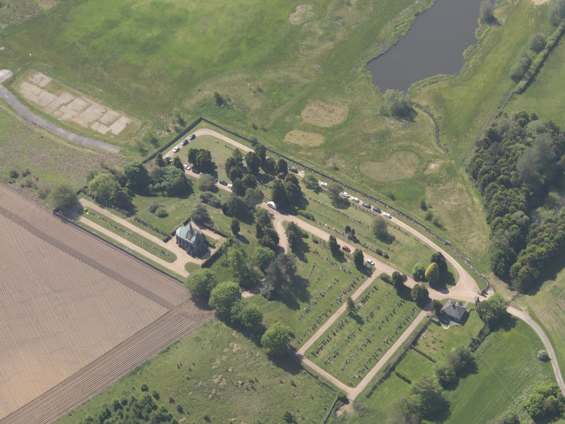 Oblique aerial view of Vicarsford Cemetery, taken from the NNE.