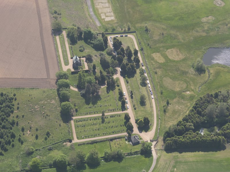 Oblique aerial view of Vicarsford Cemetery, taken from the NNW.