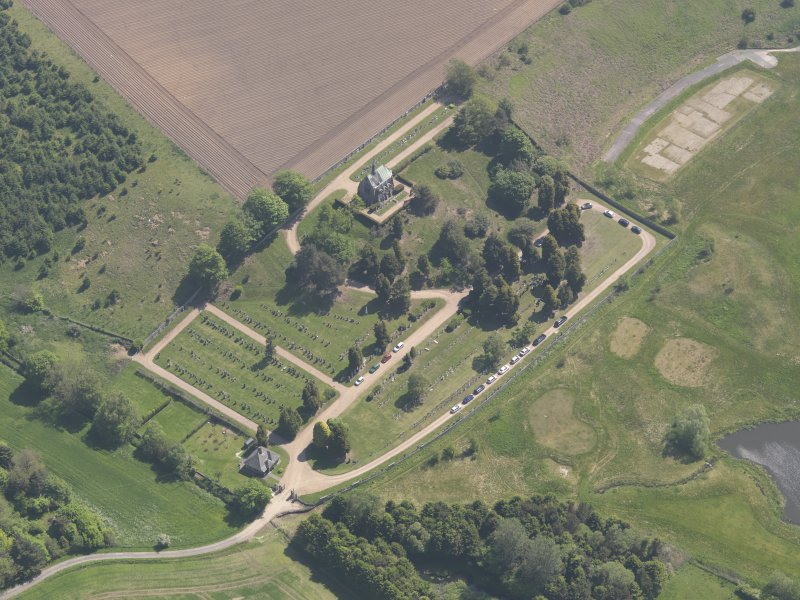 Oblique aerial view of Vicarsford Cemetery, taken from the WNW.