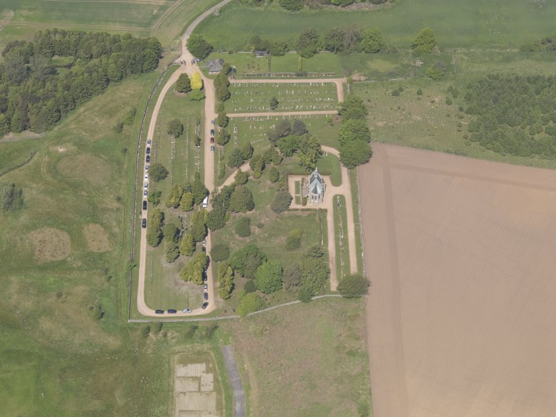 Oblique aerial view of Vicarsford Cemetery, taken from the SSE.