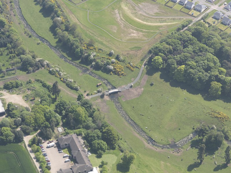 Oblique aerial view of Linlathen House East Bridge, taken from the W.
