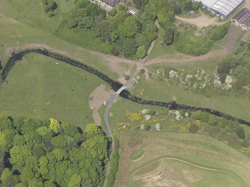 Oblique aerial view of Linlathen House East Bridge, taken from the SE.