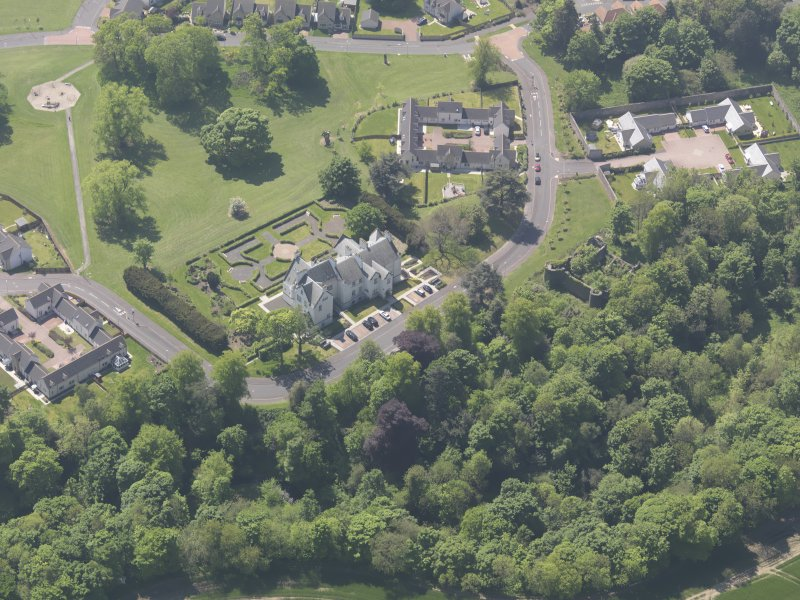 Oblique aerial view of Ballumbie Castle, taken from the N.
