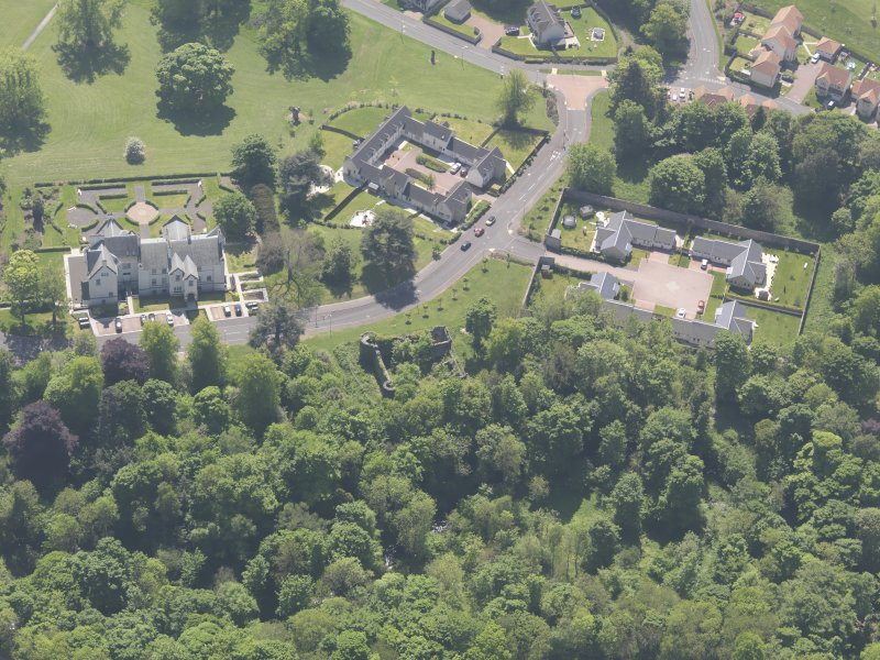 Oblique aerial view of Ballumbie Castle, taken from the NNW.