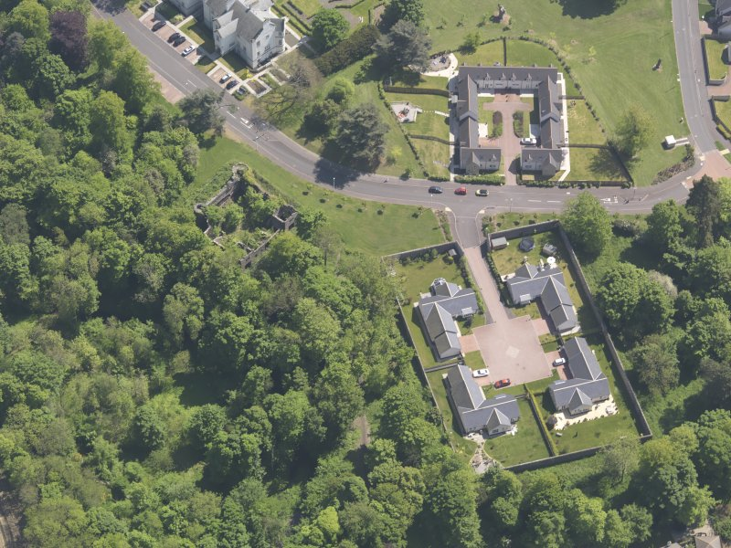 Oblique aerial view of Ballumbie Castle, taken from the WNW.