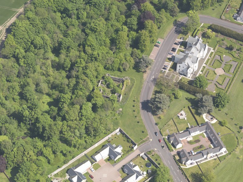 Oblique aerial view of Ballumbie Castle, taken from the SW.
