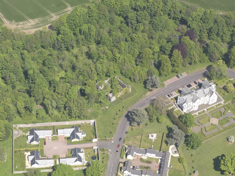 Oblique aerial view of Ballumbie Castle, taken from the S.