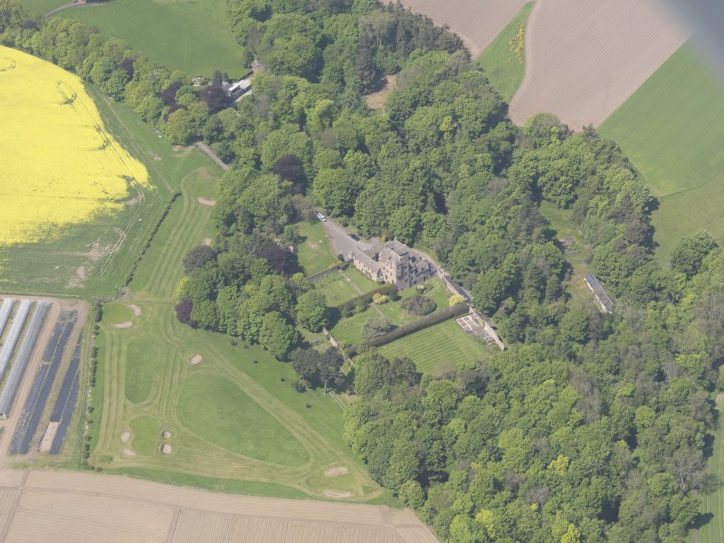 Oblique aerial view of Kellie Castle, taken from the SE.