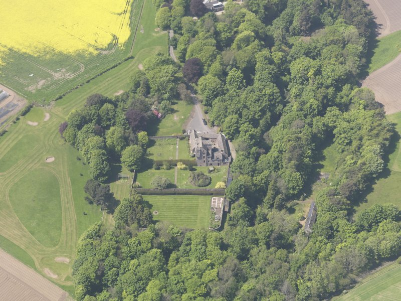 Oblique aerial view of Kellie Castle, taken from the E.