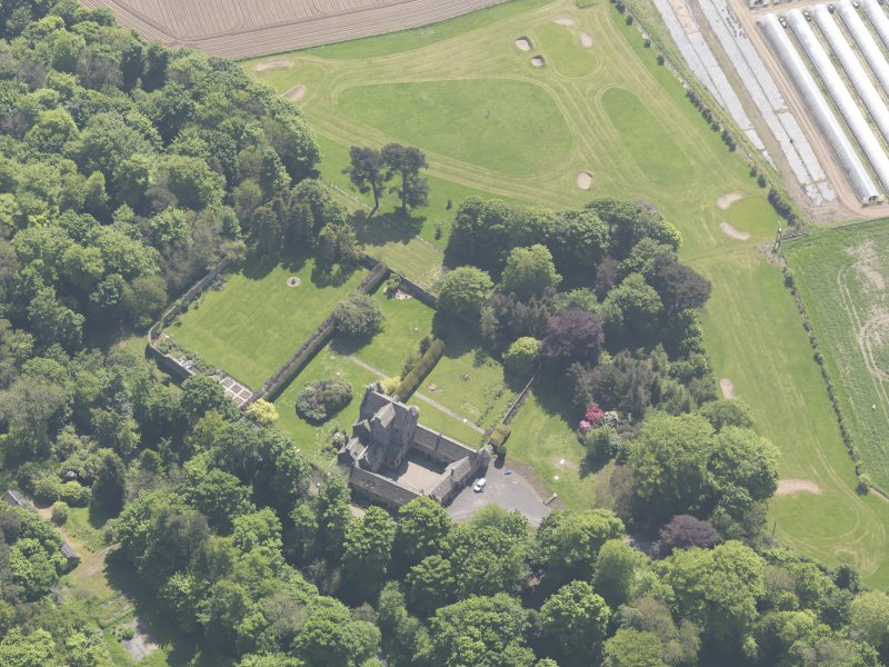 Oblique aerial view of Kellie Castle, taken from the NNW.