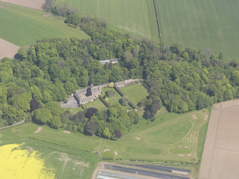 Oblique aerial view of Kellie Castle, taken from the SW.