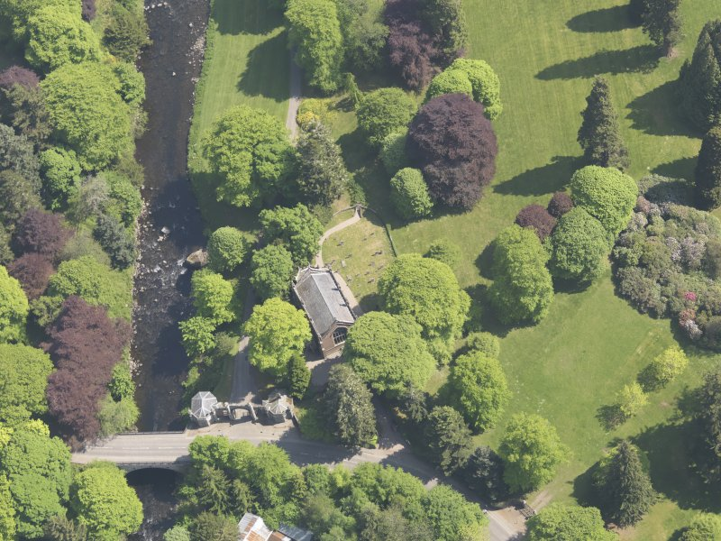Oblique aerial view of Cortachy Parish Church, taken from the WNW.