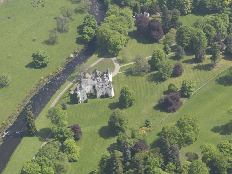 Oblique aerial view of Cortachy Castle, taken from the W.