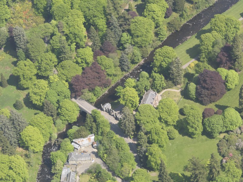 Oblique aerial view of Cortachy Bridge, taken from the W.