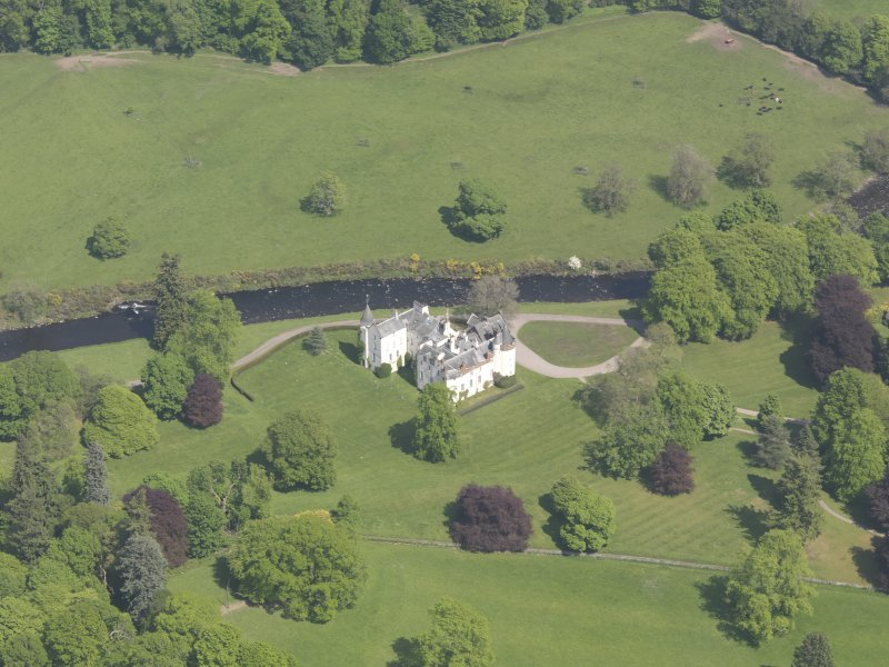 Oblique aerial view of Cortachy Castle, taken from the SSW.