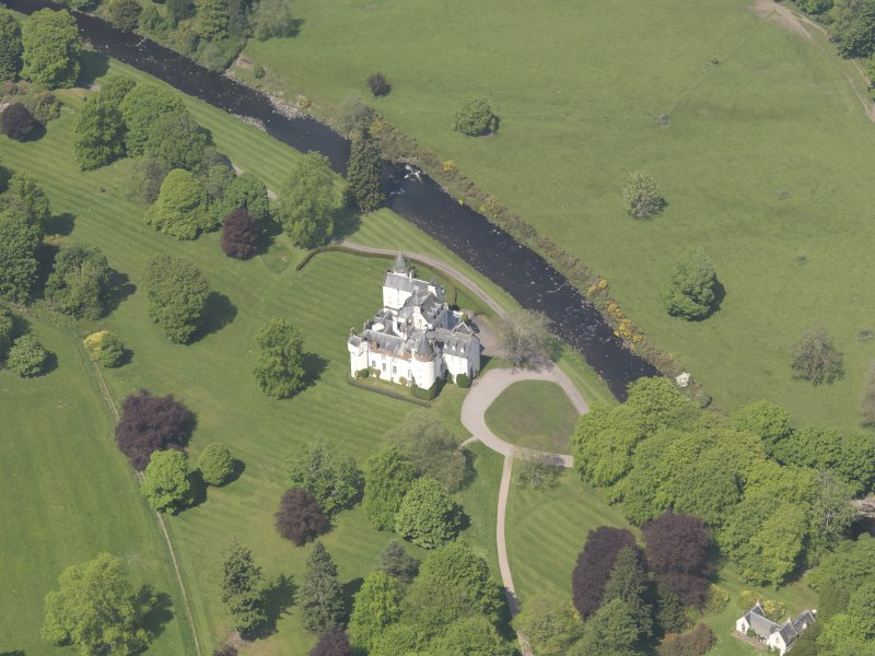 Oblique aerial view of Cortachy Castle, taken from the S.