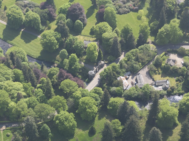 Oblique aerial view of Cortachy Bridge, taken from the N.