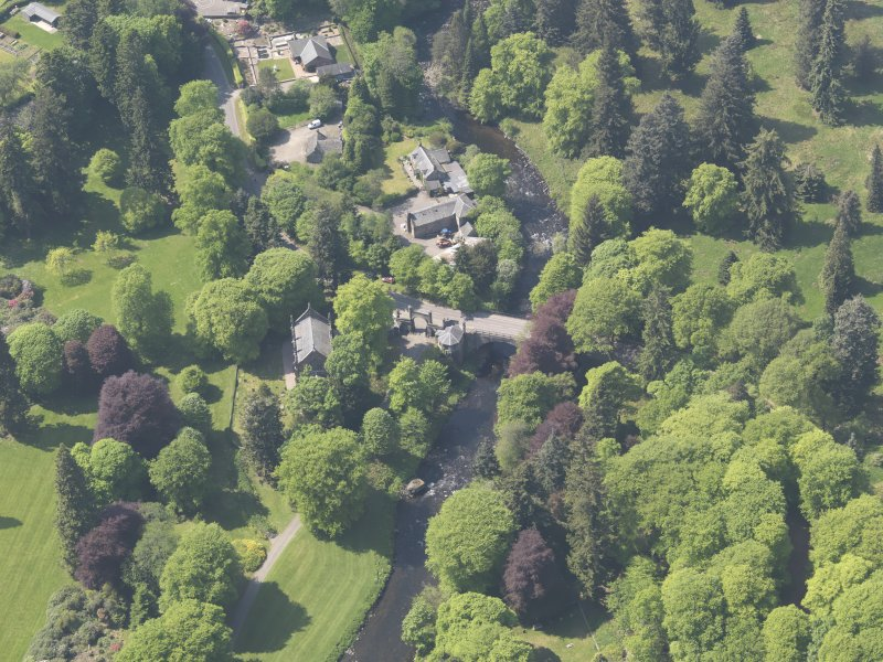 Oblique aerial view of Cortachy Bridge, taken from the E.