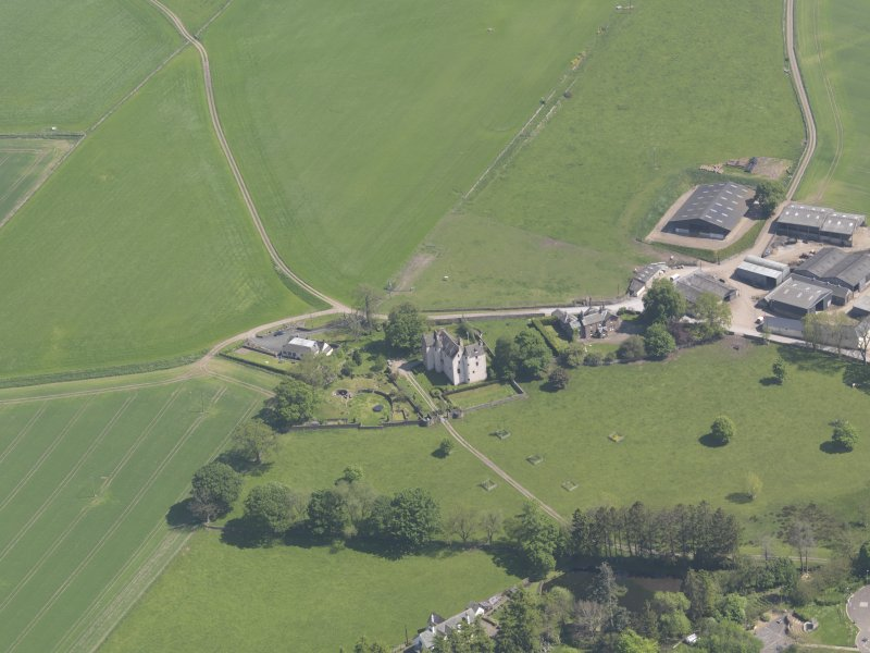 Oblique aerial view of Hatton Castle, taken from the W.